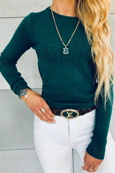 Sweterek Holes Green