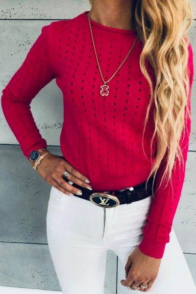 Sweterk Holes Pink
