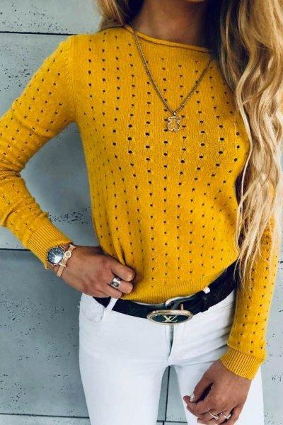 Sweterek Holes Yellow