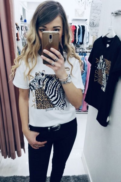 T-shirt Zebra white